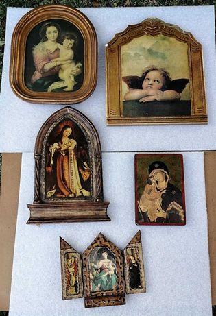 Lote de 4 quadros de arte sacra + Tríptico