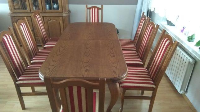 Drewniany dębowy stół rozkładany + 8 krzeseł
