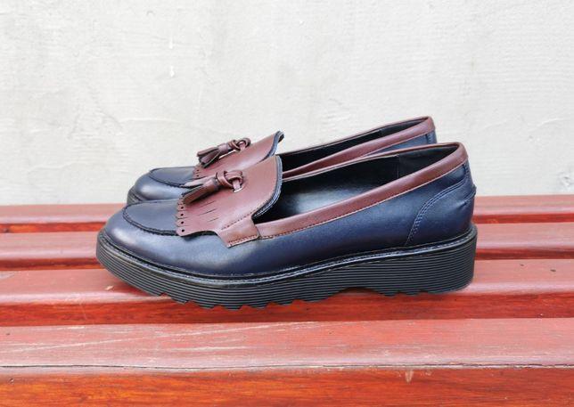 Кожаные лоферы туфли слипоны Bata 39 р. Оригинал