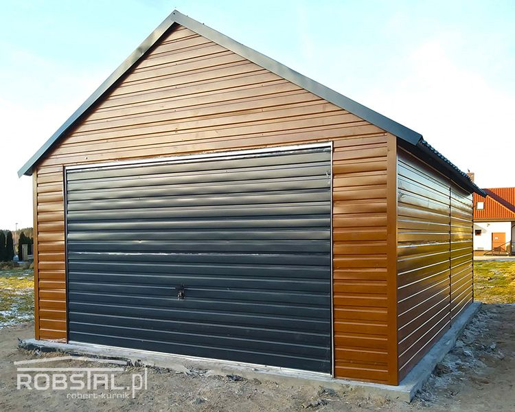 Garaż blaszany drewnopodobny poziomy trapez garaże 4,5x6 blaszak wiata Kalisz - image 1
