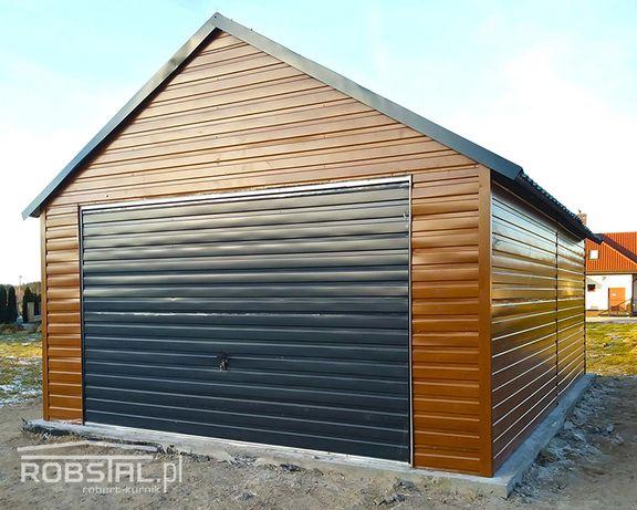 Garaż blaszany drewnopodobny poziomy trapez garaże 4,5x6 blaszak wiata