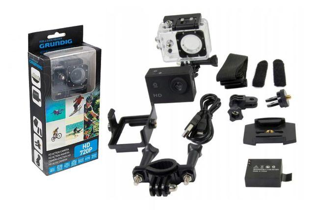 Kamera Kamerka sportowa HD Grundig Wodoodporna + Akcesoria Narty Rower