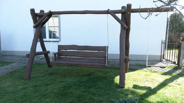 huśtawka ogrodowa drewniana dla dziecka, meble ogrodowe