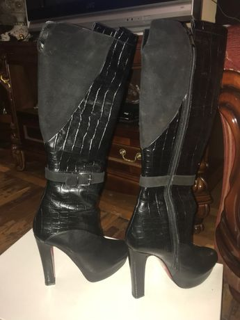 Высокие кожаные брендовые сапоги Feretti(Chloe Gucci Celine Pinko Zara