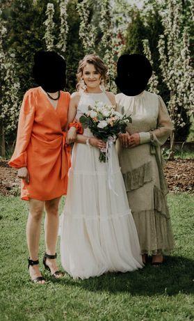 Suknia ślubna w stylu boho z falbankami ivory