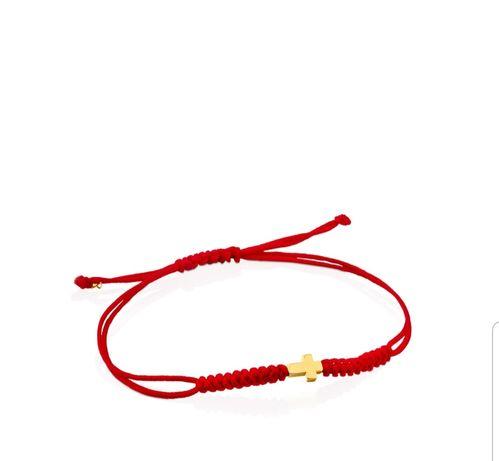 Tous bransoletka czerwona nylonowy sznurek Sweet Dolls zloto 24k