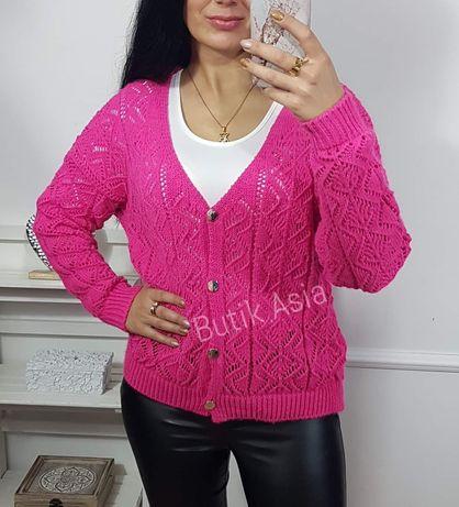 Sweter sweterek różowy amarant ażurowy śliczny 40,42,44 nowy