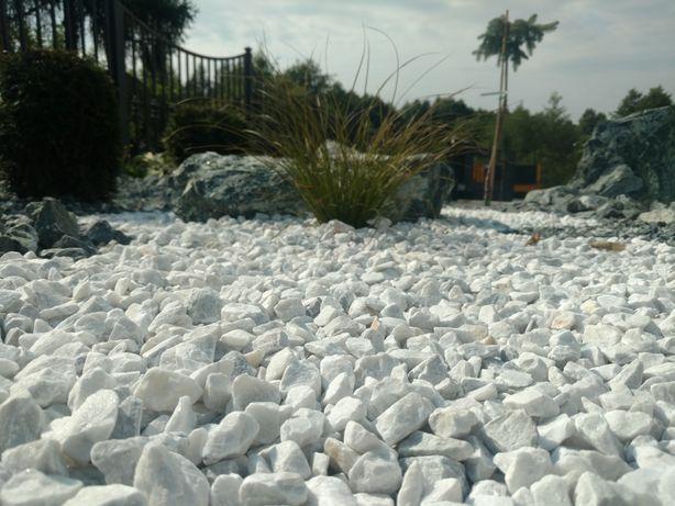 Bianco Carrara białe kamienie do ogrodu żwir kamień grys biały gres