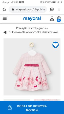 Mayoral śliczna sukieneczka r. 74 + gratis
