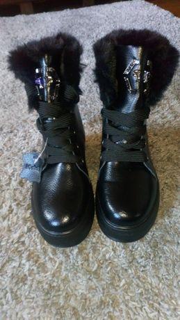 Зимние кожанные сапожки, ботинки. Новые.