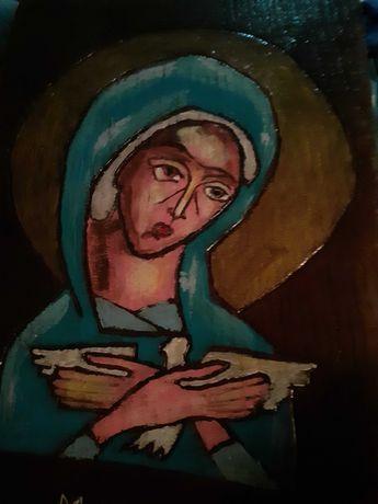 Obraz Matki Bożej ręcznie robiony na drewnie. Rzeźba