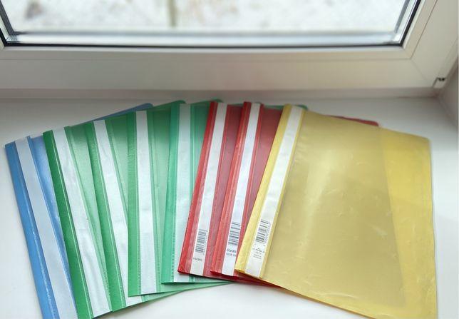 Разноцветные папки-скоросшиватели с прозрачным верхом, 8 штук