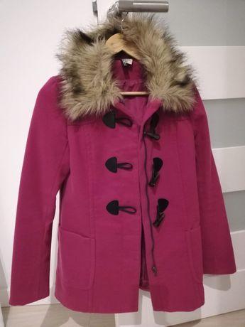 Płaszczyk zimowy, kurtka H&M Divided, R. 36. S fuksja, róż
