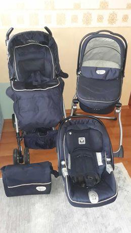 Детская фирменная коляска 3 в 1 peg-perego pliko б/у + постелька
