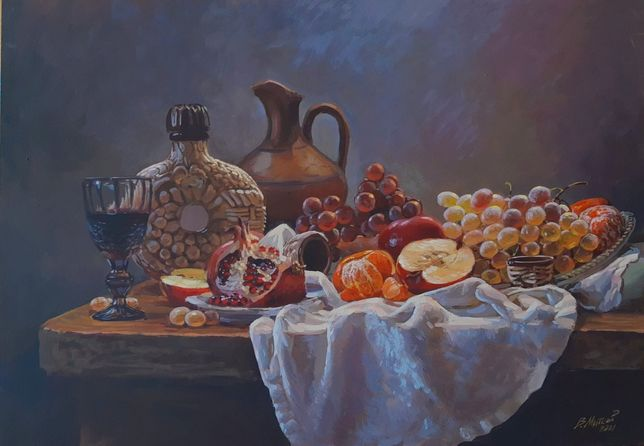 "Картина ""Натюрморт с гранатом и виноградом"""