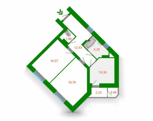 Продам 2к квартиру 67м2 в сданном 1-ом доме ЖК Голосеевская долина