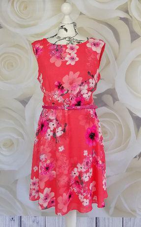 Wallis_sukienka koralowa w kwiaty_rozmiar 42