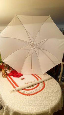 Parasolka studyjna, fotograficzna biała, adapter do parasolki