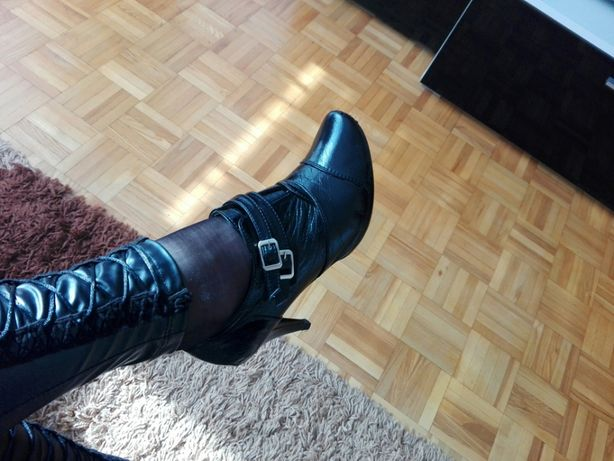 CUDNE buty damskie czarne botki pantofle szpilki skóra lakier 39 GRATI