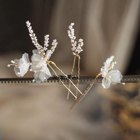 Ozdoby do włosów ślub wesele złoto piękne