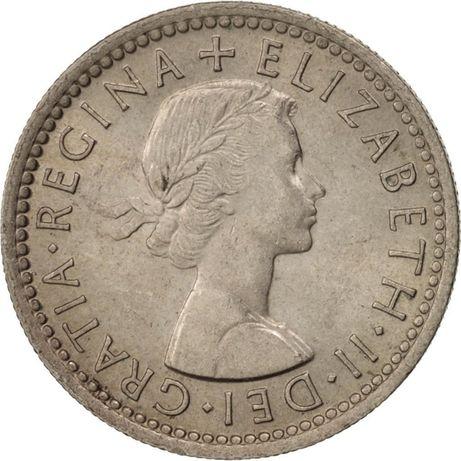Wielka Brytania, Elizabeth II, 6 Pens, 1954, Copper-nikel,