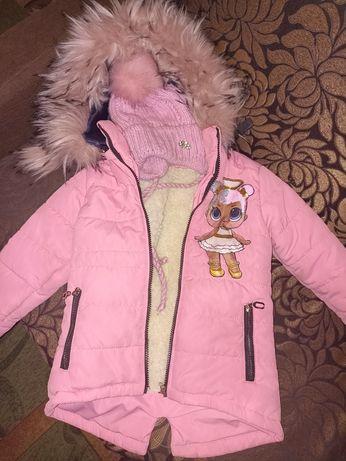 Курточка зимняя,куртка зима,курточка 3-4 года,куртка зимняя 104 шапка