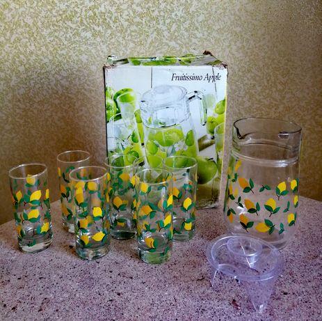 Набор для напитков графин кувшин 1.6л с крышкой+6 стаканов 270 мл
