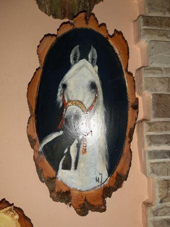 Malowane Na Krążku Drewna Koń Łeb Konia 22 x 12 cm