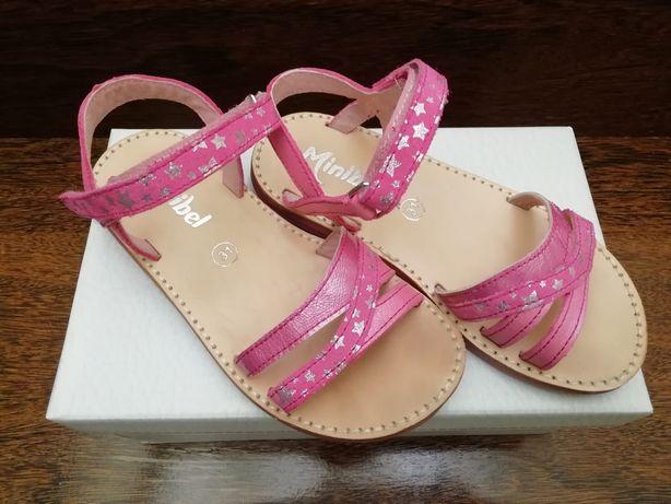 Sandálias em pele rosa Minibel