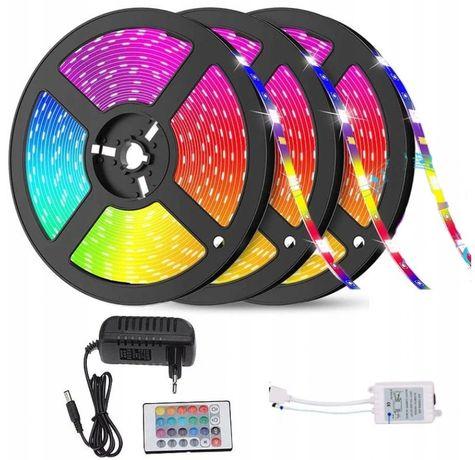 Taśma LED 15m oświetlenie LED + pilot + zasilacz