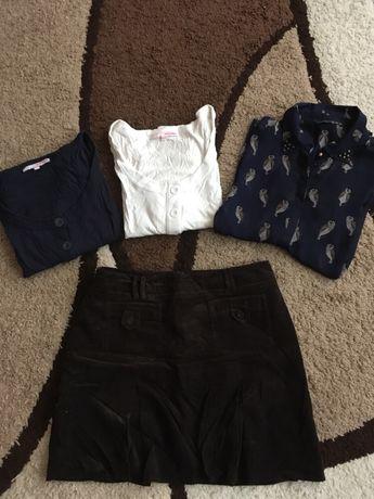 3 bluzki i spódnica zestaw komplet ubrań
