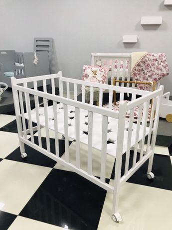 Детская кроватка для новорожденных Деревянная, белая, розовая, голубая