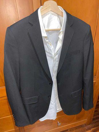 Blazer ZARA +Calças Conjunto Slim Fit+Sapatos Pretos+Camisa Branca