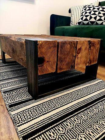 Stolik kawowy drewno belki industrialny loft metal domoteka