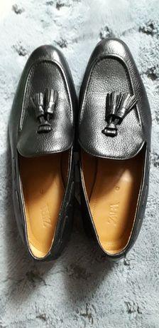 Buty mokasyny czarne 42 ZARA skóra skórzane