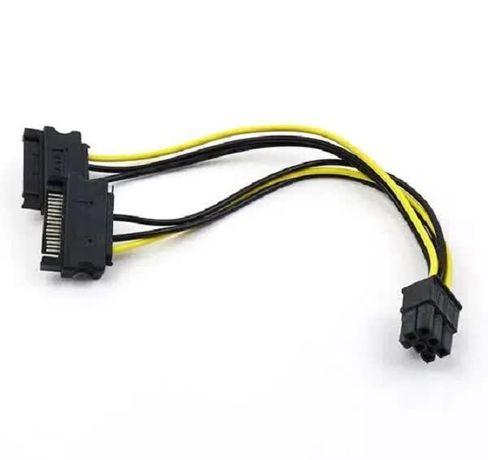 Переходник, кабель питания для видеокарт SATA 2x15Pin на PCI-e 6Pin