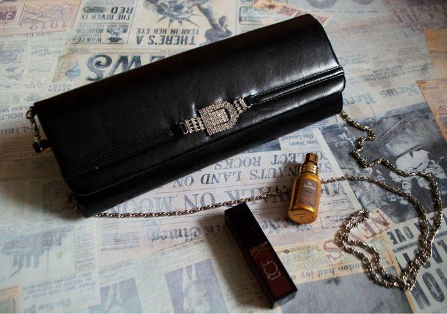 Клатч черный со стразами (сумочка, сумка)