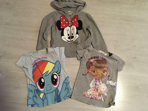 Zestaw H&M bluza Minnie + 2 bluzki Dosia Pony 110/116