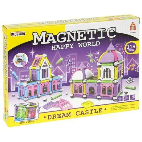 Klocki Magnetyczne 118 elementów Światło Dźwięk