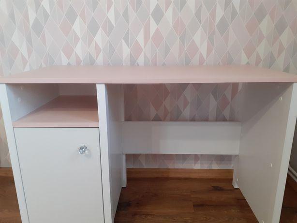 Biurko dla dziewczynki białe różowy blat + różowe  krzesło obrotowe