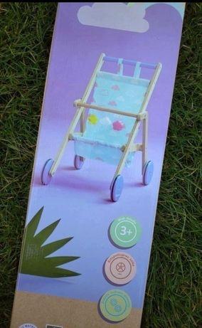 Nowy drewniany wózek dla lalek