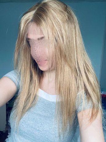 Натуральный парик с имитацией кожи на сетке славянский волос блонд