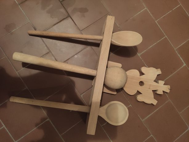 Drewniana ozdoba kuchenna w stylu pamiątki - PRL