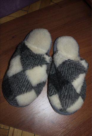 Тапочки домашние овчина войлок теплые натуральный мех зима 36.