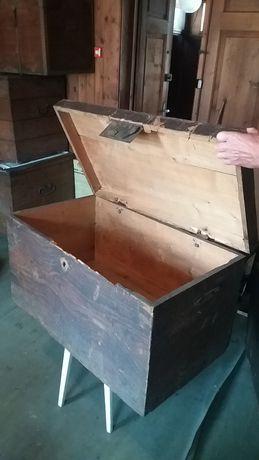 Stary Zabytkowy Kufer , Skrzynia - Znaleziony na strychu