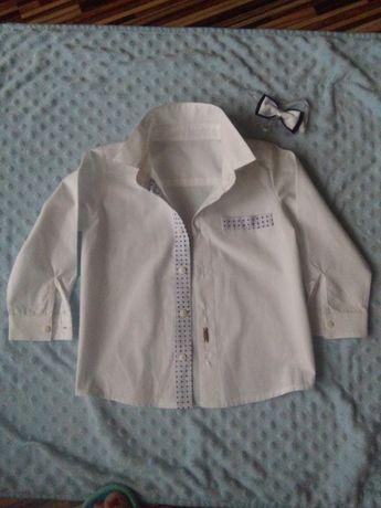 Biała koszula r. 92 bawełna, mucha gratis