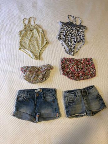 Lote calções/fatos banho bébé menina (portes grátis)