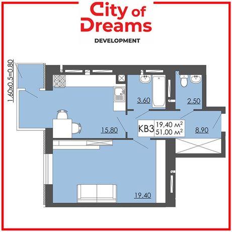 Одно кімнатна квартира 51,00м2, Малі Підліски.