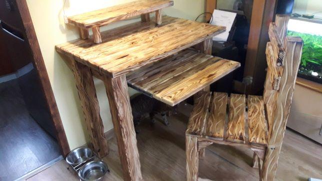 Masywne biurko+krzesło z litego drewna.
