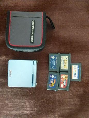 Gameboy Advance SP consola e 5 jogos e bolsa oficial